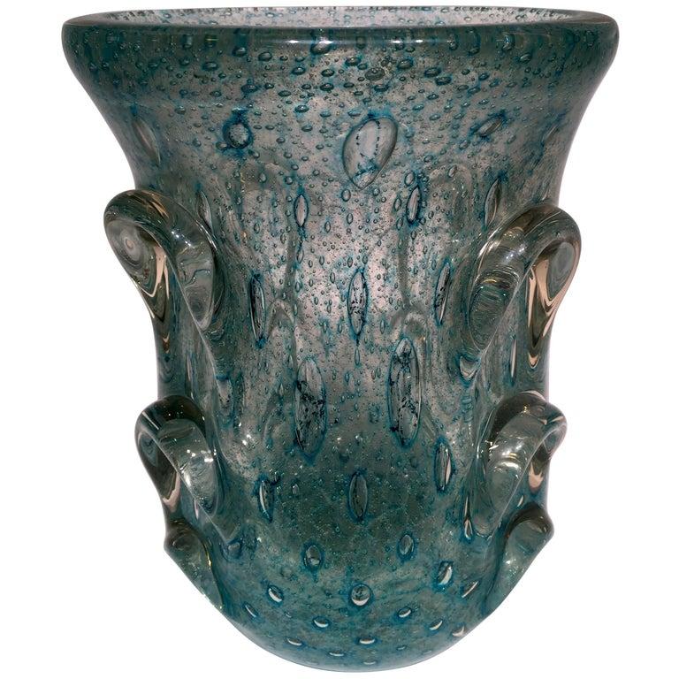 Dino Martens Murano Artistic Blown Glass 'Cactus' Blue Vase, circa 1950