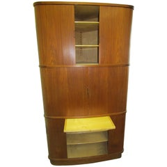 Teak Corner Cabinet from Denmark Featuring Tambour Doors and a Serving Shelf
