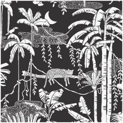 "Jungle Dream Designer Screen Printed Wallpaper in Contrast ""White on Soft Black"""