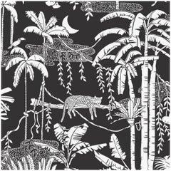 "Jungle Dream Designer Screen Printed Wallpaper in Contrast ""White on Soft Black"""