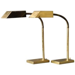 Pair of Extra Large Brass Table Lamps, Vereinigte Werkstätten