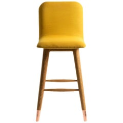 Mistral Bar Stool in Kvadrat Fabric, Wood and Copper