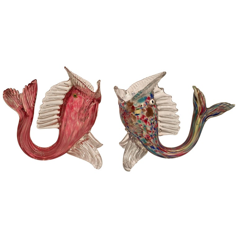 Dino Martens Murano Artistic Blown Glass Fish Multi-Color Vases, circa 1950