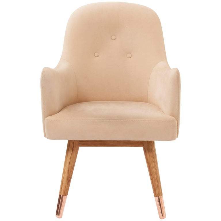 Dandy Chair Armchair in Soft Suede Beige Leather, White Oak and Copper For Sale