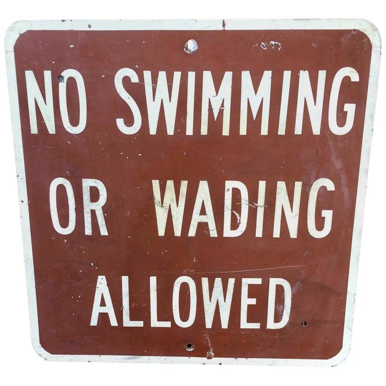 Vintage No Swimming Metal Sign