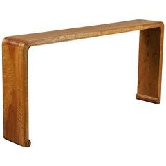20th Century Chinese Walnut Ribbon Table