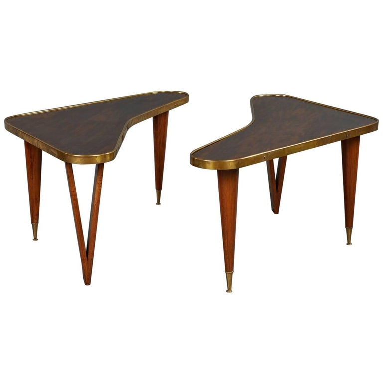 Pair of Biomorphic Rosewood Coffee Tables
