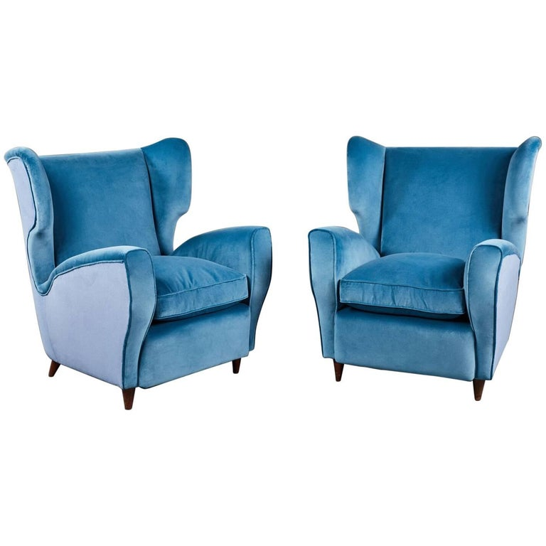 Pair of Italian Mid-20th Century Wingback Chairs in Two Tones of Velvet