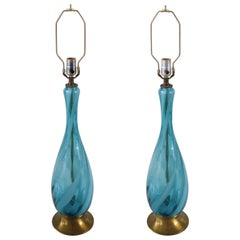 Mid-Century Modern Pair of Swirled Murano Glass Table Lamps