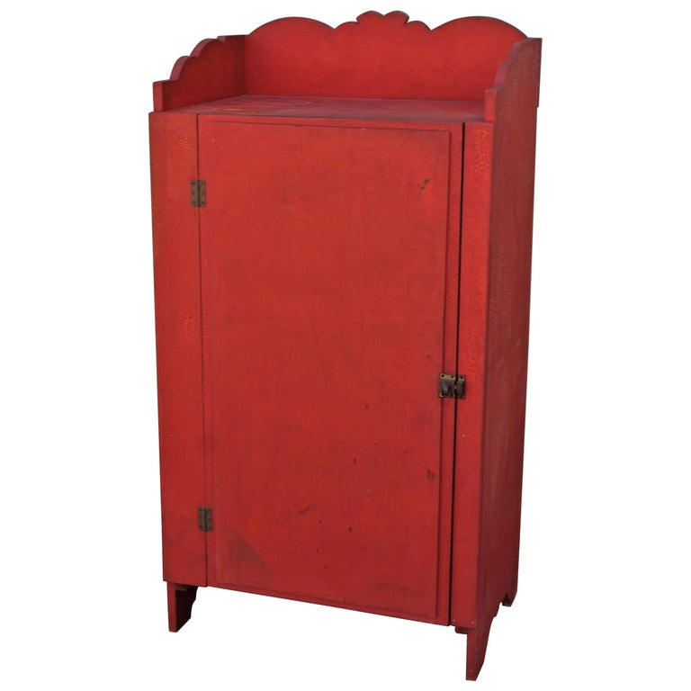 19th Century Original Red Painted Cupboard