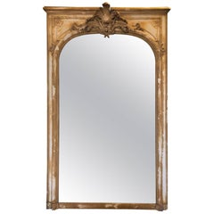 Antique French Wood and Plaster Mirror