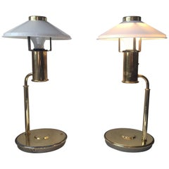Pair of Vintage Scandinavian Nautical, Navy Table Lamps in Brass, 1960s
