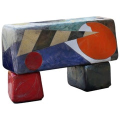 "Michael Gustavson Ceramic Indoor/Outdoor ""Moonlight Bench"""