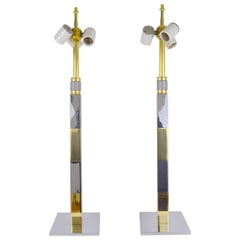 Pair of Chrome and Brass Lamps by Stewart Ross James for Hansen