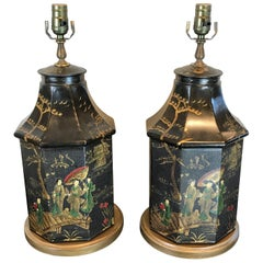 Pair of Tole Chinoiserie Tea Canisters, Now as Lamps