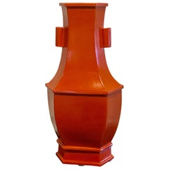 Large Chinese Export Monochrome Vase, in Iron Red