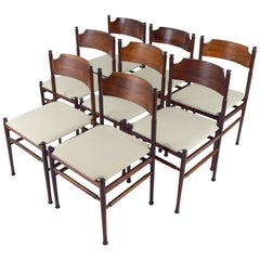 Set of Eight Italian Rosewood and Leather Chairs in the Style of Osvaldo Borsani