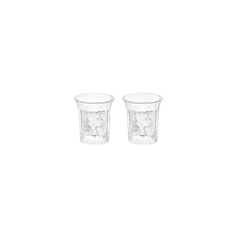 Lalique Enfants Set of Two Shot Glasses in Clear Crystal