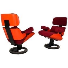 """Pair of Eames Lounge Style Armchairs from Cinema """"Maestoso"""", Milano Italy, 1970"""