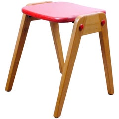 Red Austrian Midcentury SW2 Connexi Stool Designed by Roland Rainer