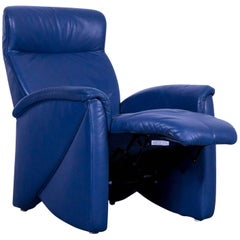 Himolla Leather Armchair Blue One-Seat Recliner