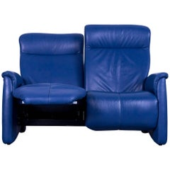 Himolla Leather Sofa Blue Two-Seat Recliner