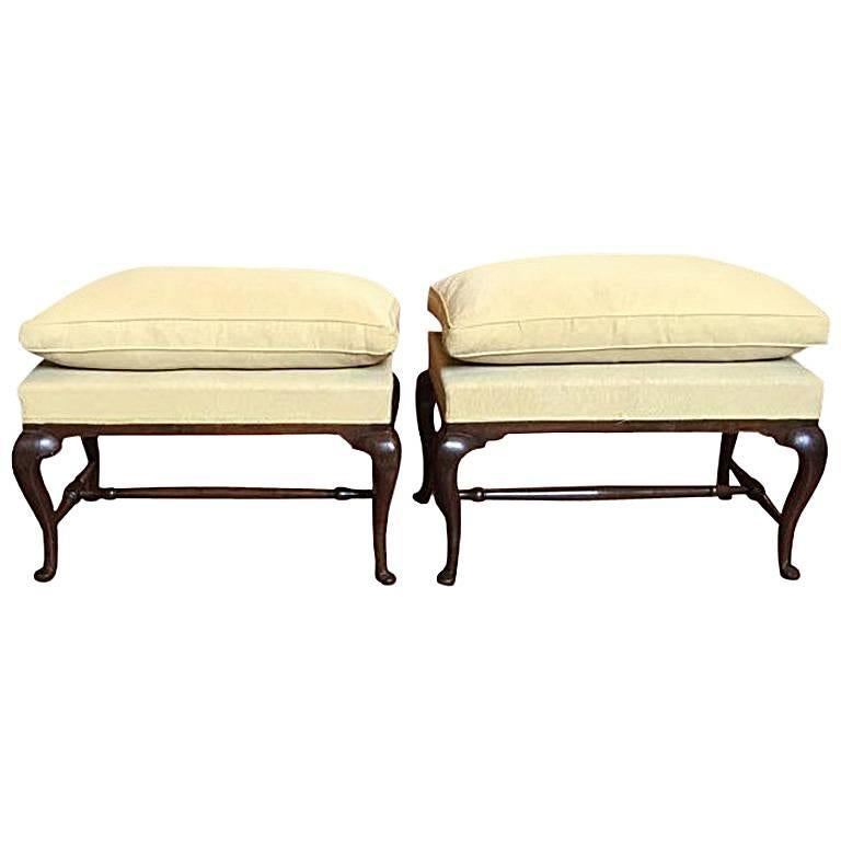 Pair of Mid-18th Century Tuscany Antique Hand-Carved Walnut Upholstered Benches