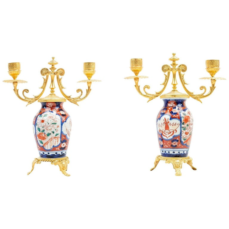 Pair of Porcelain Lampstands, Imari Decoration, Second Half of the 19th Century For Sale