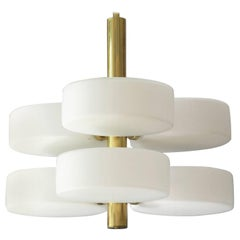 1960s Brass and Glass Ceiling Lamp by Kaiser, Mid-Century Modern, Space Age