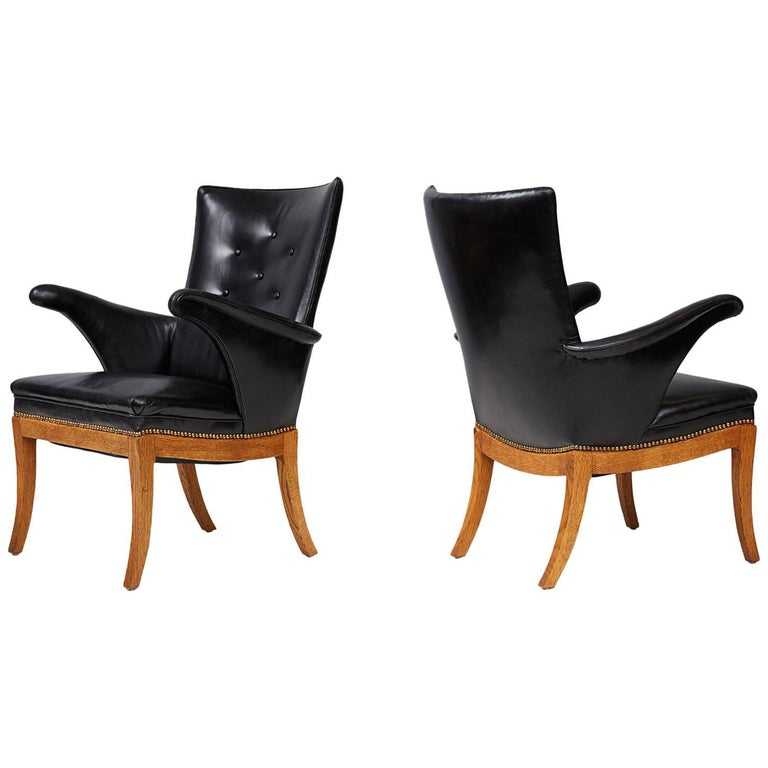 Frits Henningsen Armchairs, Oak and Leather For Sale