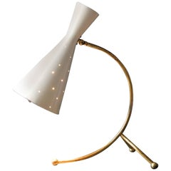 1950s Large Midcentury Brass & Painted Metal Diabolo Table Lamp by J. T. Kalmar