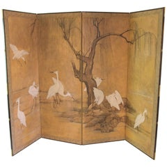 Four-Panel Screen Japan Decoration with Herons, Pencil and Gouache on Paper
