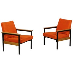 Pair of Metal Framed Leather Armchairs with Wooden Armrests, Switzerland, 1960s