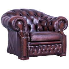 Chesterfield Centurion Leather Armchair Brown One-Seat