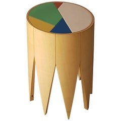 Depero Zanotta Natural Maple Stool with Red Blue Green Leather Seat, 1984