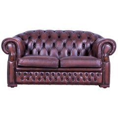 Chesterfield Centurion Leather Sofa Brown Two-Seat Couch