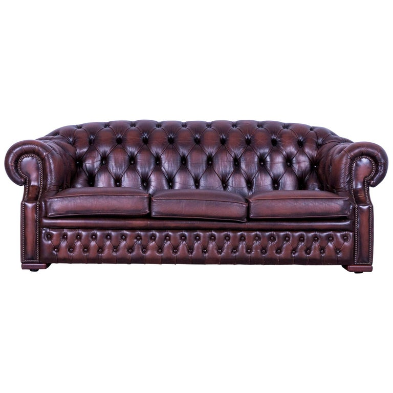 Chesterfield Centurion Leather Sofa Brown Three-Seat Couch