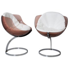 Pair of Boris Tabacoff Sphere Chairs for Mobilier Modulaire Moderne