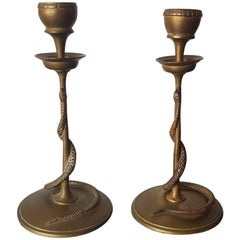 Set of Two French Bronze Candlesticks with Snakes, 19th Century