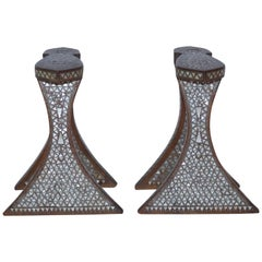 Pair of Syrian Footrest, Nacre and Wood, circa 1900