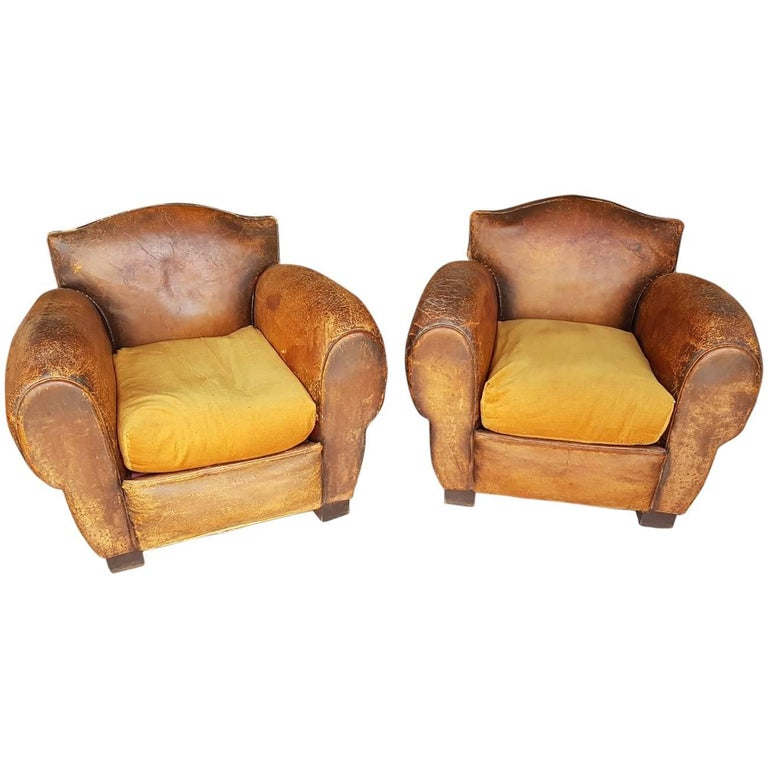 Two French Leather Club Chairs from the 1930s