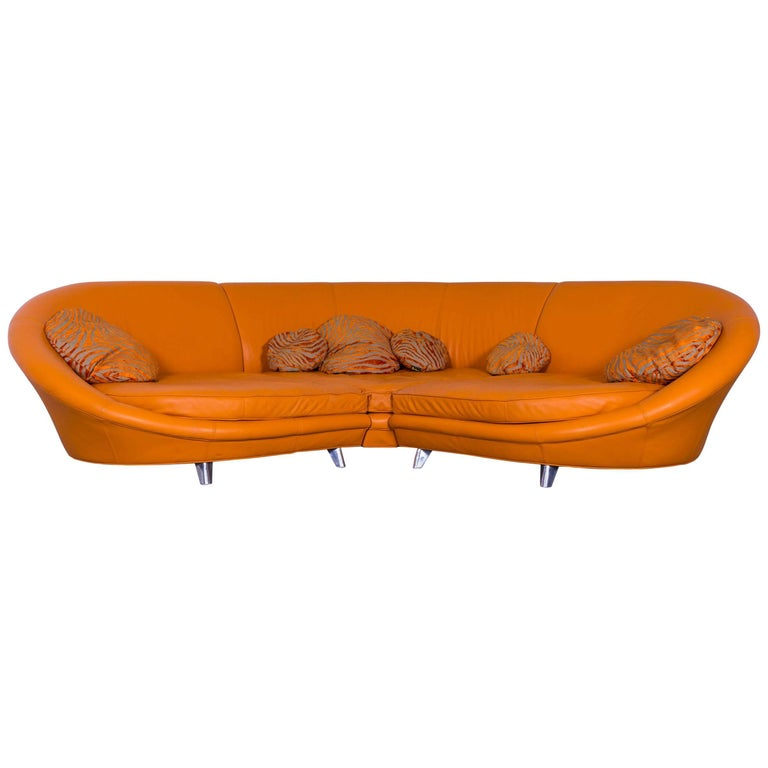 Bretz Pool Leather Corner Sofa Orange Four Seat For