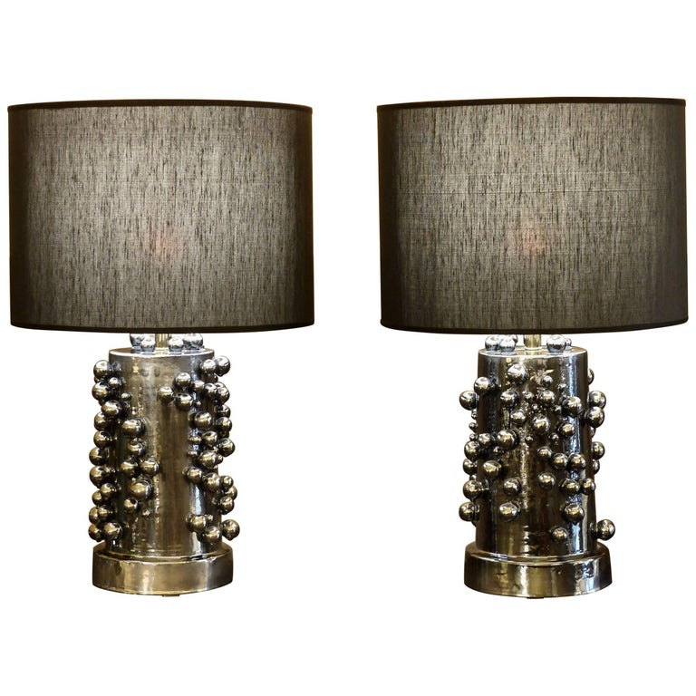 Pair of Black Licorice Earthenware Table Lamps with Black Shades