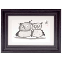 Indian Ink Wash of a Pair of Owls, Signed by Laszlo Tibay, 2012