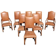 Large Set of Eight French Louis XIII Style Os De Mouton Walnut Dining Chairs
