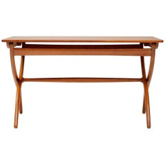 Ole Wanscher Cross Leg Table, Teak and Oak
