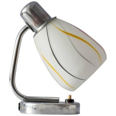 Chrome Table Lamp with Colorful Striped Lampshade from Napako, 1940s