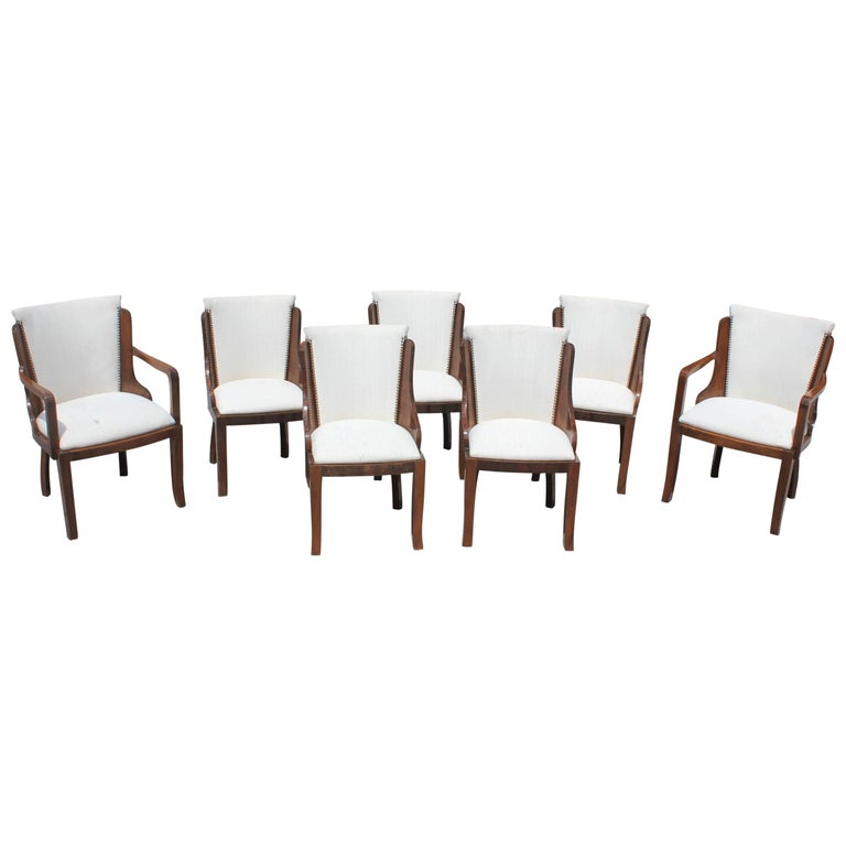 Set of Seven French Art Deco Solid Walnut Dining Chairs Style of Jules Leleu