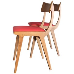 Italian Wood and Red Leather Chairs, Set of Two, 1950s