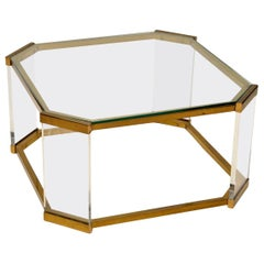 1970s Vintage Glass, Brass and Perspex Coffee Table